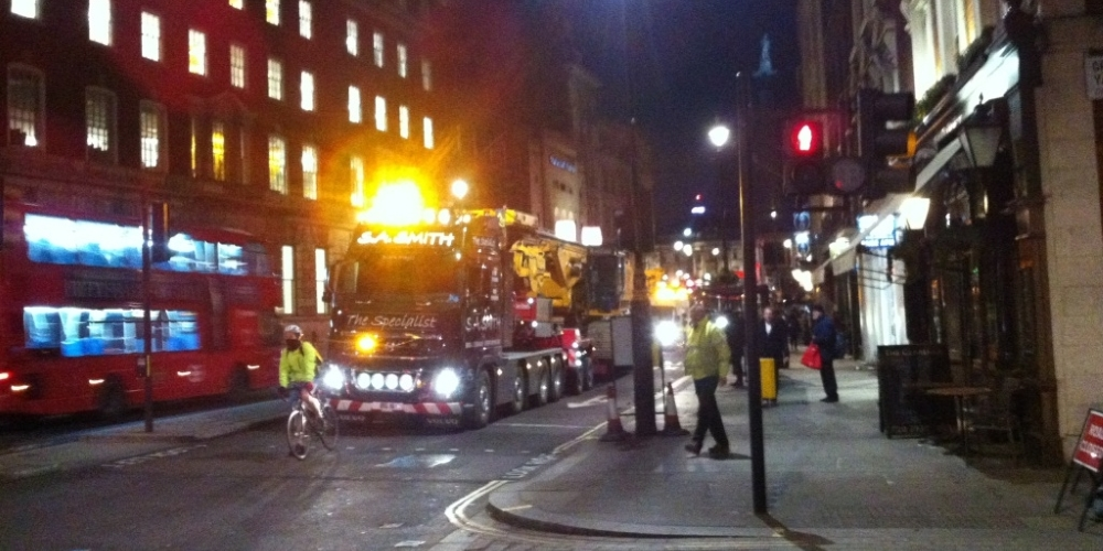 Delmag drilling rig in transit central london